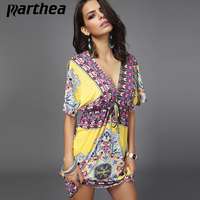 Parthea V Neck Sashes Flower Milk Silk Plus Size Women Bohemian Beach Dresses Printed Summer Dresse