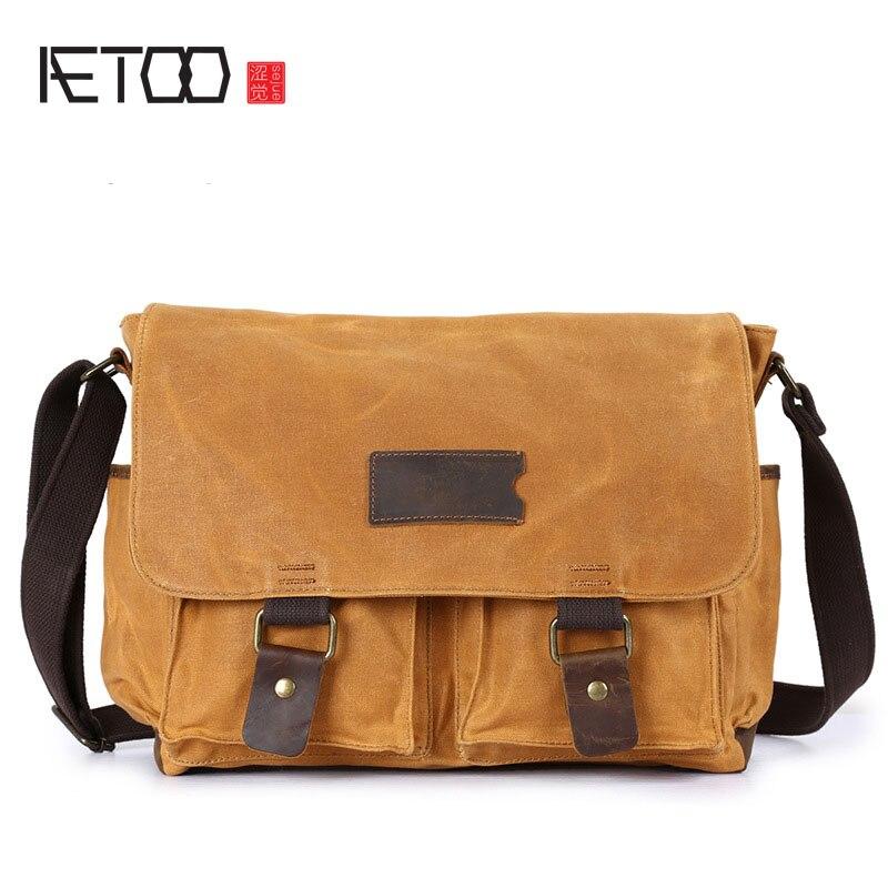 new style 1877d 785c6 AETOO Men s Messenger Bag Vintage Crazy Leather Men s Wallet Canvas Bag  Men s waterproof computer bag