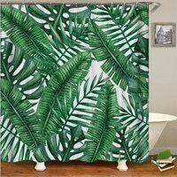 Green Banana Leaf Shower Curtain Tropical Plant Printed Bathroom Mildew Home Shower Curtain Waterproof Polyester Shower Curtain