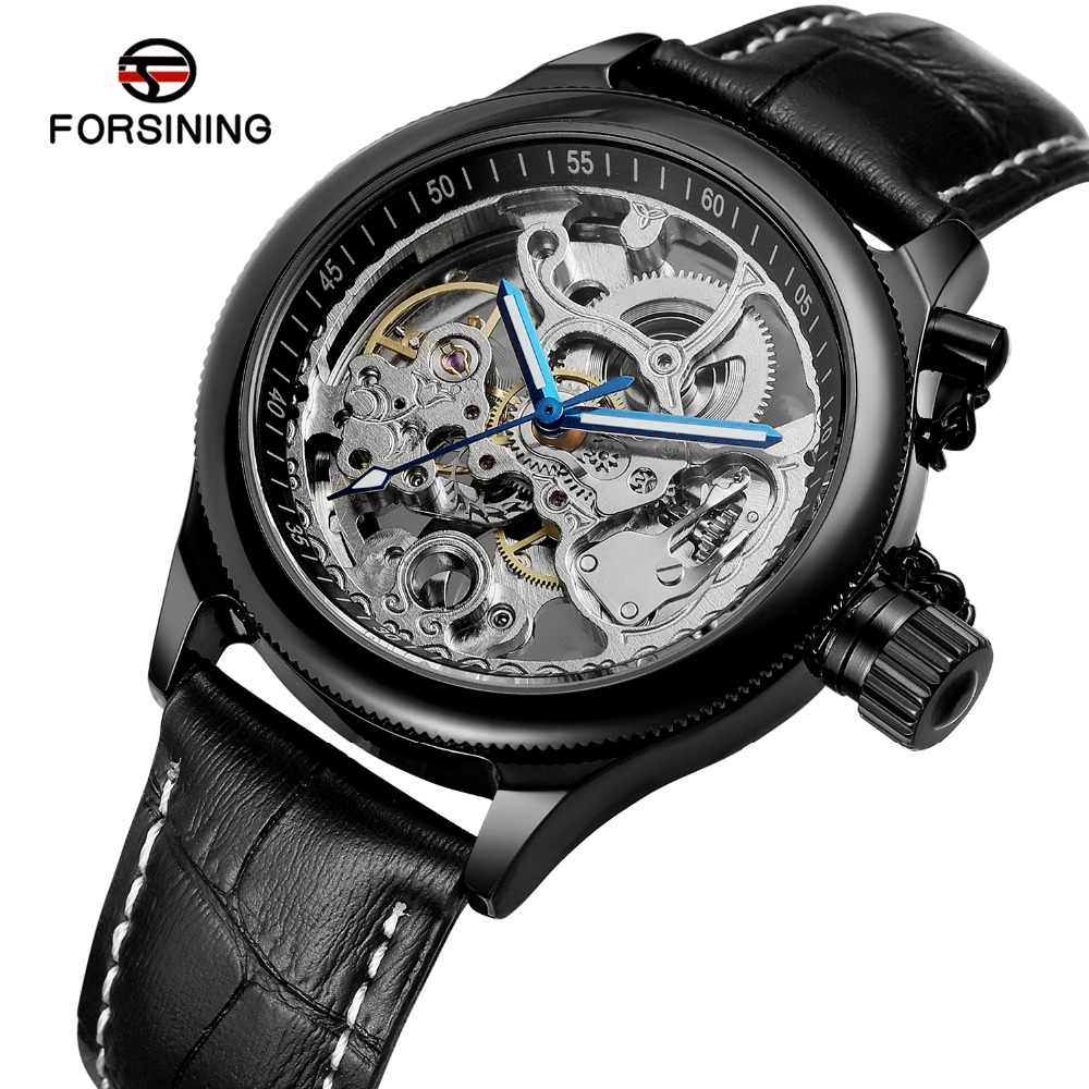 FORSINING Mens Luxury Brand Automatic Self-wind Skeleton Anglogue Dial Watch with Genuine Leather Band Best Gift FSG8155M3FORSINING Mens Luxury Brand Automatic Self-wind Skeleton Anglogue Dial Watch with Genuine Leather Band Best Gift FSG8155M3