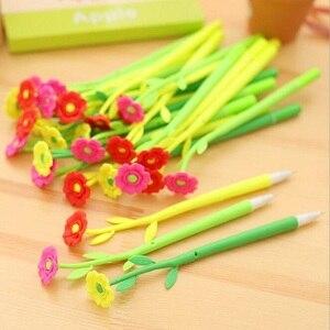 Image 1 - 48 шт./лот, новый красивый 3D дизайн цветов, гелевая ручка, 0,38 мм, черный Забавный подарок, канцелярские принадлежности для офиса и школы, HY, глобальная оптовая продажа