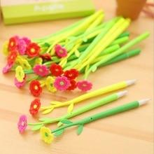 48pcs/lot Fresh Beautiful 3D Flower design Gel Pen 0.38mm Black funny gift office school Stationery supplies HY Global Wholesale