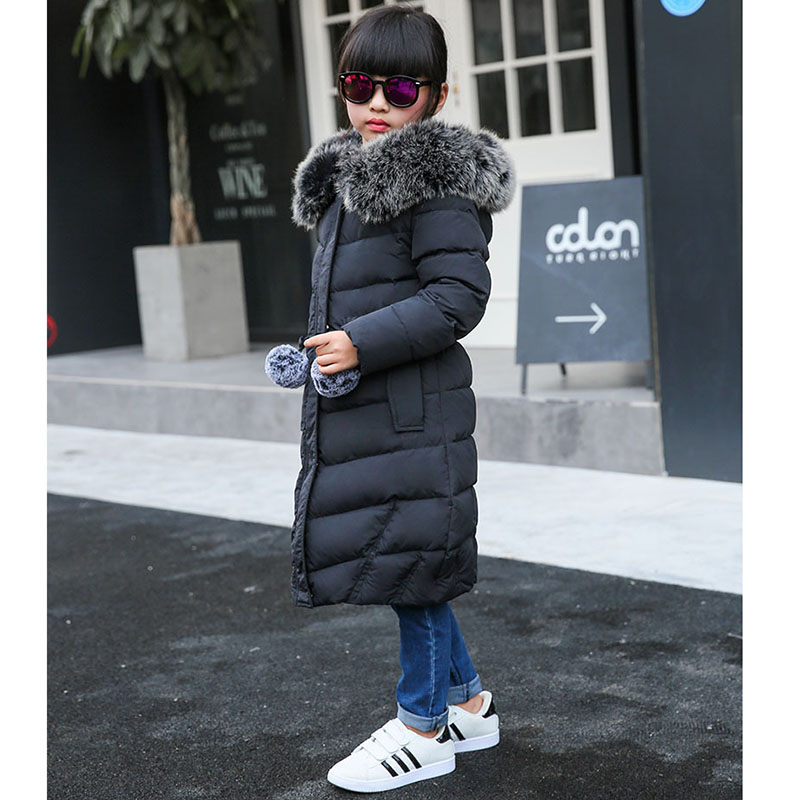 -30 Degree Children Down Jacket for Girls Clothes 2018 Winter Child Long Heavy Hair Collar Thickening Collect Waist Coat Parka new 2017 winter baby thickening collar warm jacket children s down jacket boys and girls short thick jacket for cold 30 degree