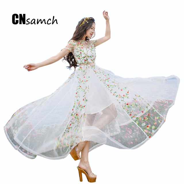 2016 новый летний женская dress горячее надувательство высокое качество элегантность мода вышивка lomg fairy dress