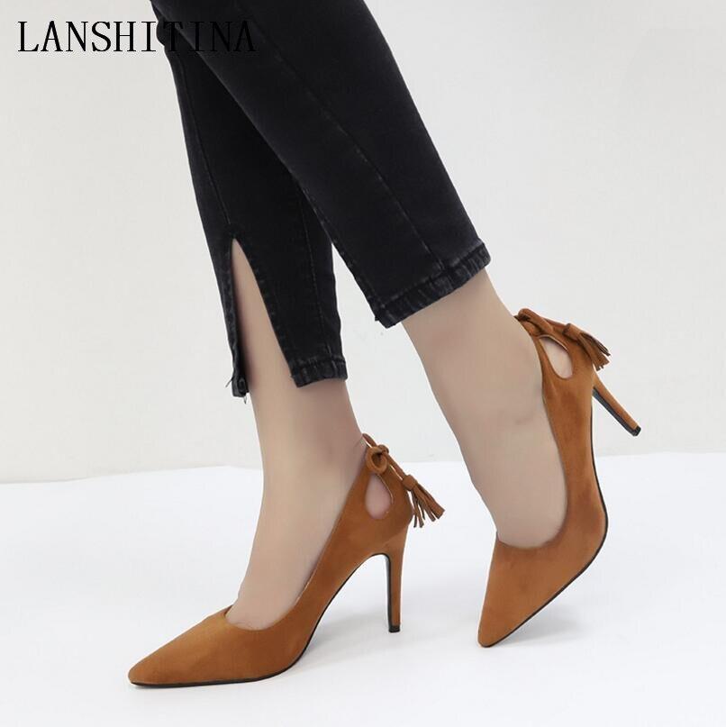 Mujer Las Zapatos chocolate Sexy Primavera Finos Altos De Borla Rebaño Señoras negro Dedo black Puntiagudo Beige Verano beige 2019 Tacones Arco gSxwq66d