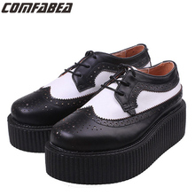 Plus size 34~44 Genuine Leather 2017 Women Oxfords Ladies High Quality Oxford Shoes For Women Flat shoes HARAJUKU Creepers
