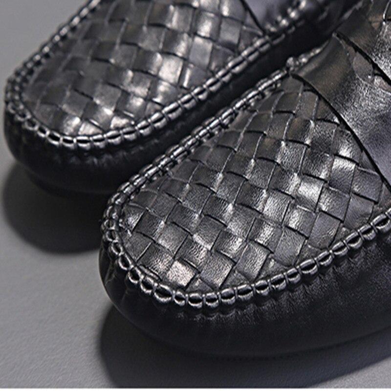 2018New muster Slipper Echtem leder Hand stricken Hochwertige mode Mann EIN wort von ziehen Dicke sohle Nicht slip-in Oxford-Schuhe aus Schuhe bei  Gruppe 3