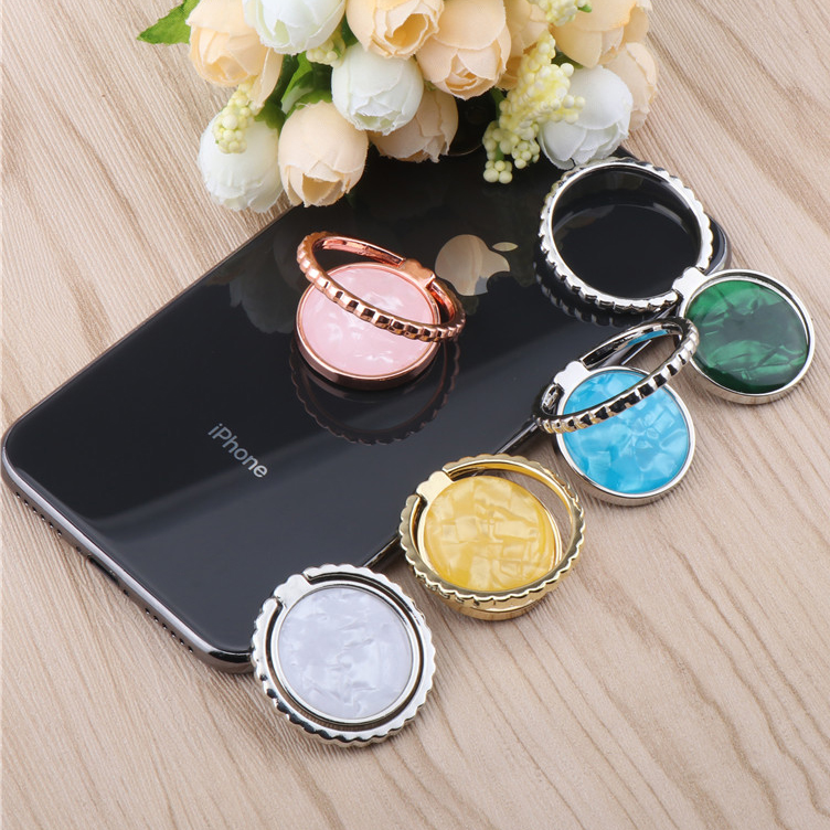 Luxury Shell Mobile Phone Holder Universal 360 Degree Rotation Socket Finger Ring Holder Magnetic Car Bracket Stand Accessoriess