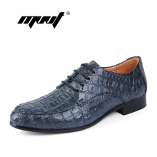 Hecho a mano de cuero genuino zapatos de los hombres, moda de encaje zapatos planos, patrón de Cocodrilo zapatos de vestir de negocios, Hombres oxford zapatos hombre