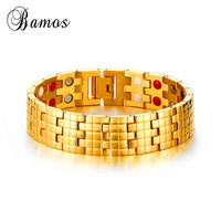 Bamos Male Health Charm Bracelet Gold Color Jewelry High Polished Stainless Steel Bracelets For Men Germanium