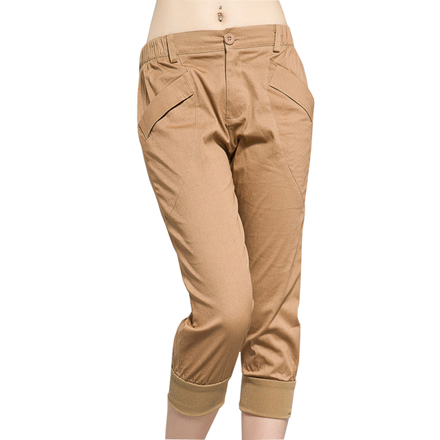 Gran tamaño L-5XL señora caqui Harem 2016 nuevo verano moda mujer Capris Elatic cintura pantalones cortos ocasionales
