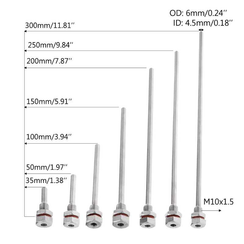 2018 L35-300mm و Thermowell الفولاذ الصلب M10X1.5 موضوع OD6mm ل درجة الحرارة الاستشعار JUL31_33