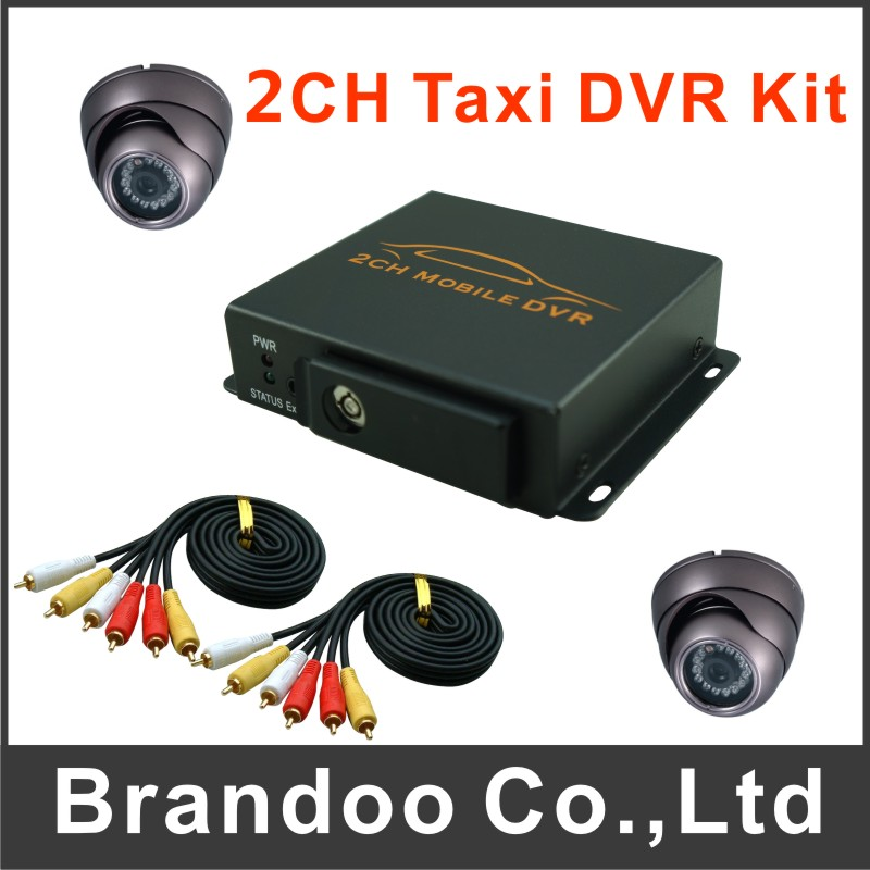 2 channel car dvr kit with 2pcs dome IR car camera for car,taxi,bus