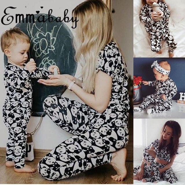 6796971a56 2018 Brand New Family Matching Panda Print Pajamas Set Women Baby Kids Girl Sleepwear  Nightwear Panda