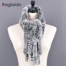 محبوك الأرنب الفراء وشاح المرأة الشتاء الدافئة والأوشحة الطبيعي الحقيقي الفراء اليدوية شالات