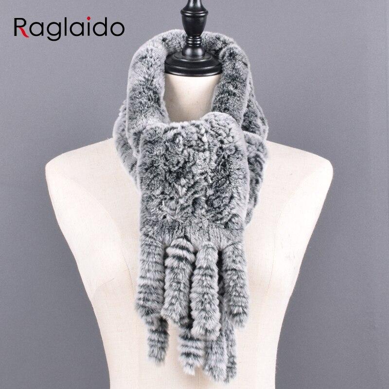 Knitted Rabbit Fur Scarf Women Winter Warm Scarves Natural Real Fur Handmade Shawls