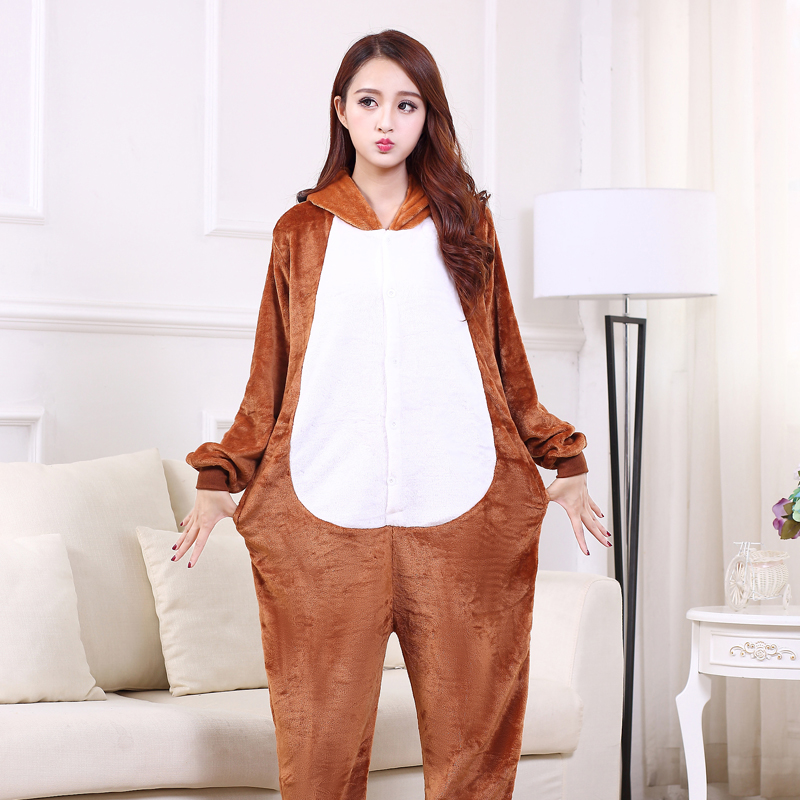 Cute Brown Dog Onesie Flannel One-Piece Pajamas Kigurumi Animal  Doggie Sleepwear Women And Men For Halloween Cosplay Party