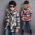 Male ultra long wadded jacket outerwear medium-long thickening down cotton child camouflage cotton-padded jacket boys parka 626