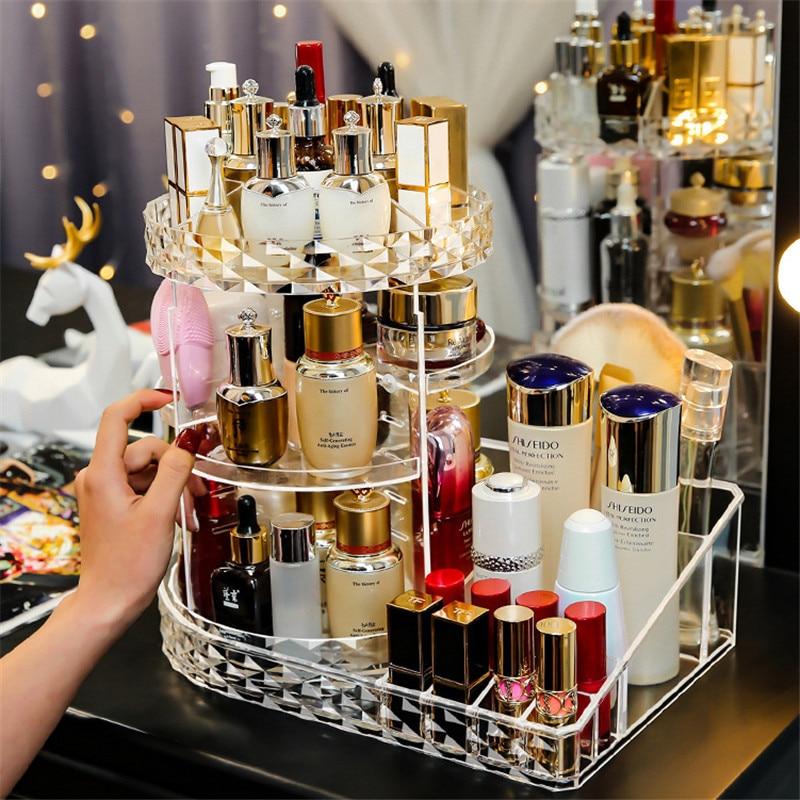 Cosmetic 360 Rotating Makeup Organizer DIY Detachable Rangement Adjustable Makeup Storage Holder Rack