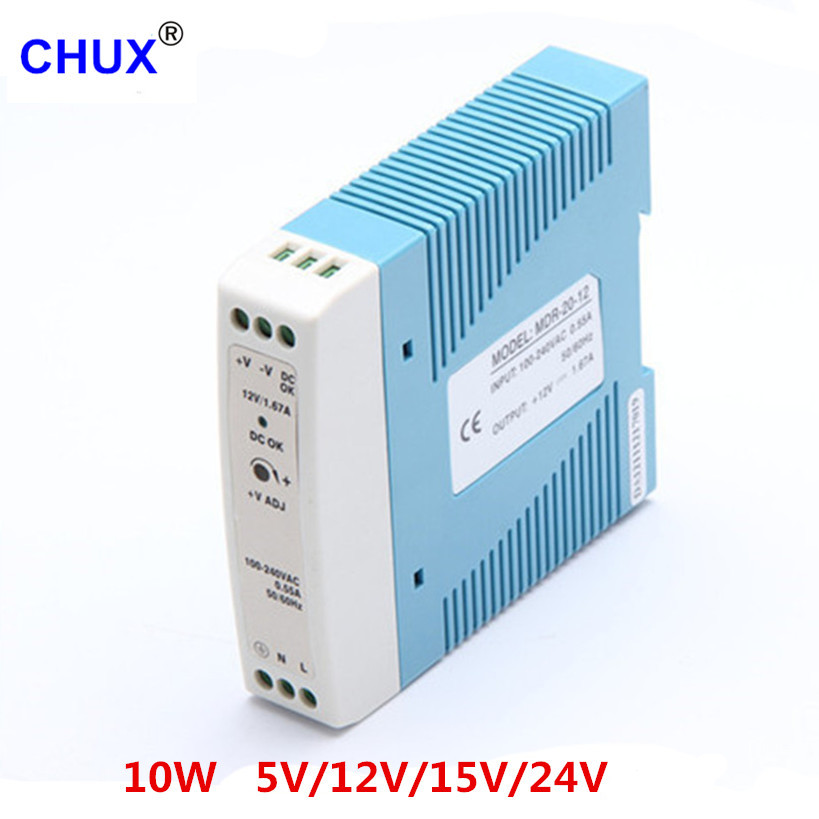 CHUX MDR 10W 5V 12V 24V MINI Din Rail Single Output Switching Power Supply 24v 1 7a 40w ce approved mini din rail single output switching power supply mdr 40 24