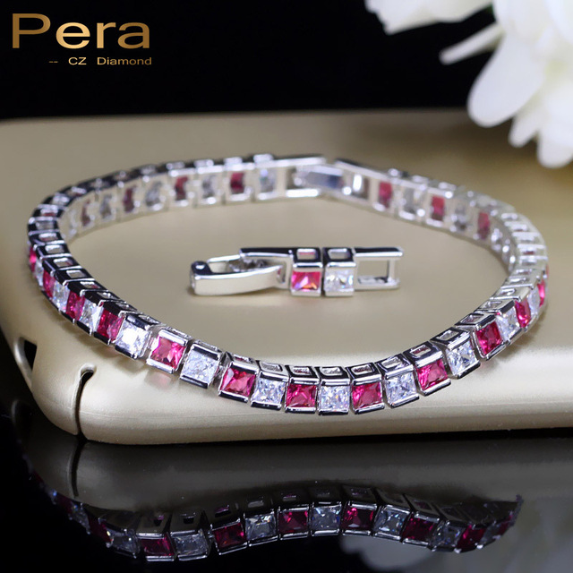 Pera Luxury Bridesmaid Wedding Party Accessories Silver 925 Jewelry Cubic Zirconia Stone Red Charm Bracelets For