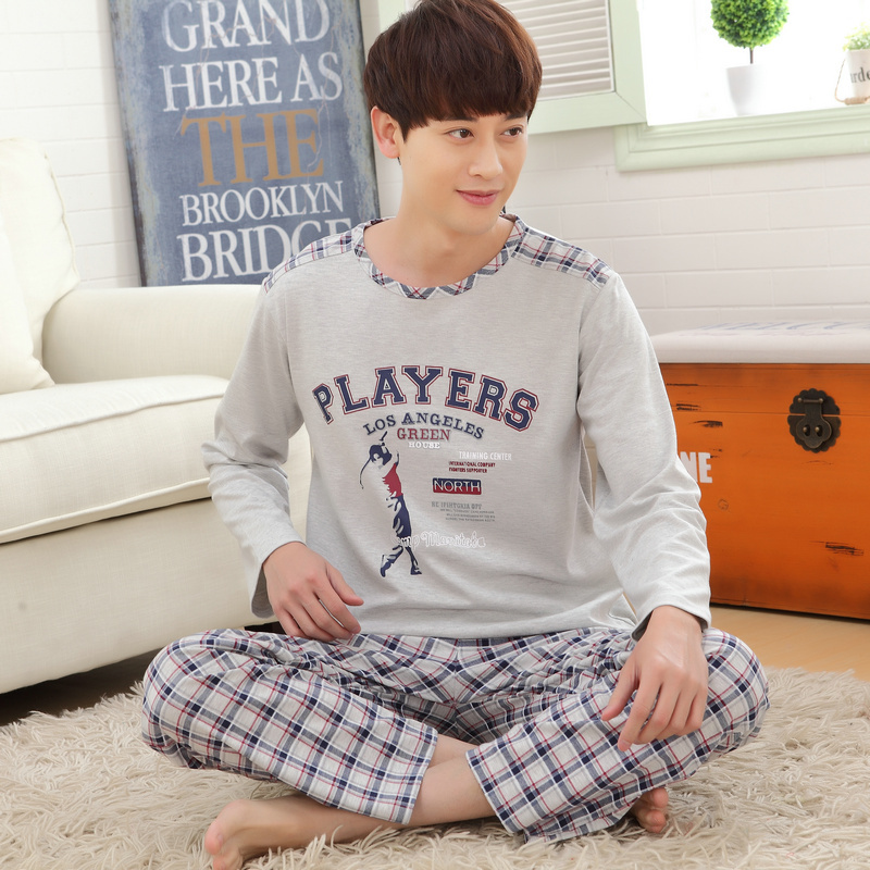 Spring and autumn men's nightwear tracksuit suit cotton long-sleeved pants pajamas fertilizer to increase 4XL sleepwear