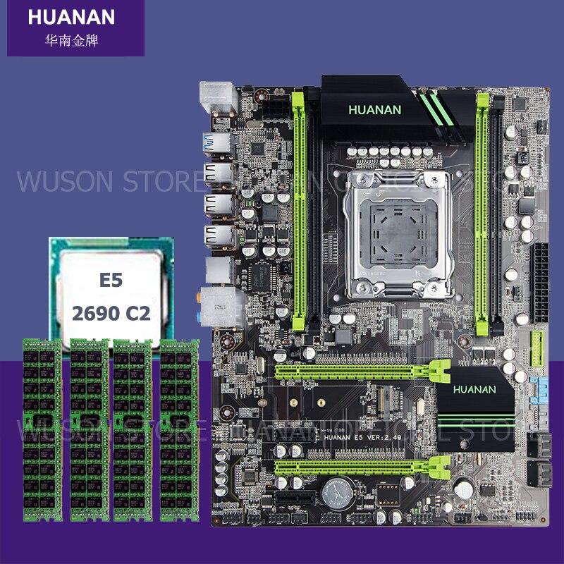 Marca nueva Placa base con M.2 ranura HUANAN ZHI X79 placa base paquete con CPU Xeon E5 2690 C2 2,9 GHz RAM (4*4) 16G DDR3 REG ECC