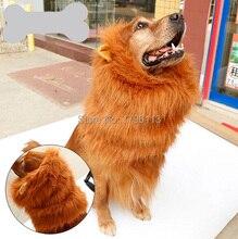 1 unids mascota perro fresco Lionhead peluca suministros accesorios para mascotas perros grandes manera marrón peluca con el oído sombreros productos de aseo 1 unids