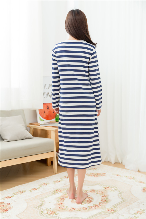 Spring and autumn stripe nightgown long design cotton modal nightgown long sleeve length dress sleepwear