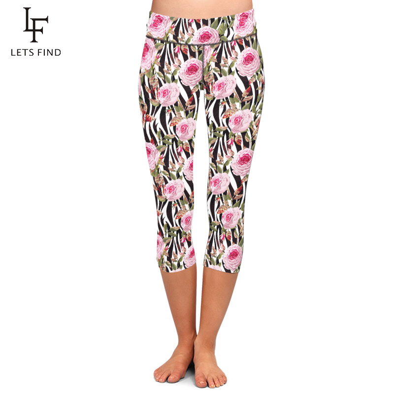 LETSFIND New Style High Waist Flowers Design Print Trousers High Elasticity Soft Women Mid-Calf 3/4 Fitness Capri Leggings