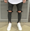 2016 NEW high quality fashion casual men jeans Big hole in knee pants  thigh and ankle zipper hiphop pants  black jeans 29-36