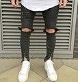 2016 NOVA alta qualidade moda casual homens calças de brim Grande buraco em calças de joelho coxa e zíper no tornozelo calças pretas hiphop calça jeans 29-36
