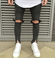 2016 NUEVO de alta calidad de moda casual hombres pantalones vaqueros del agujero Grande en pantalones del muslo de la rodilla y el tobillo de la cremallera hiphop pantalones vaqueros negros 29-36