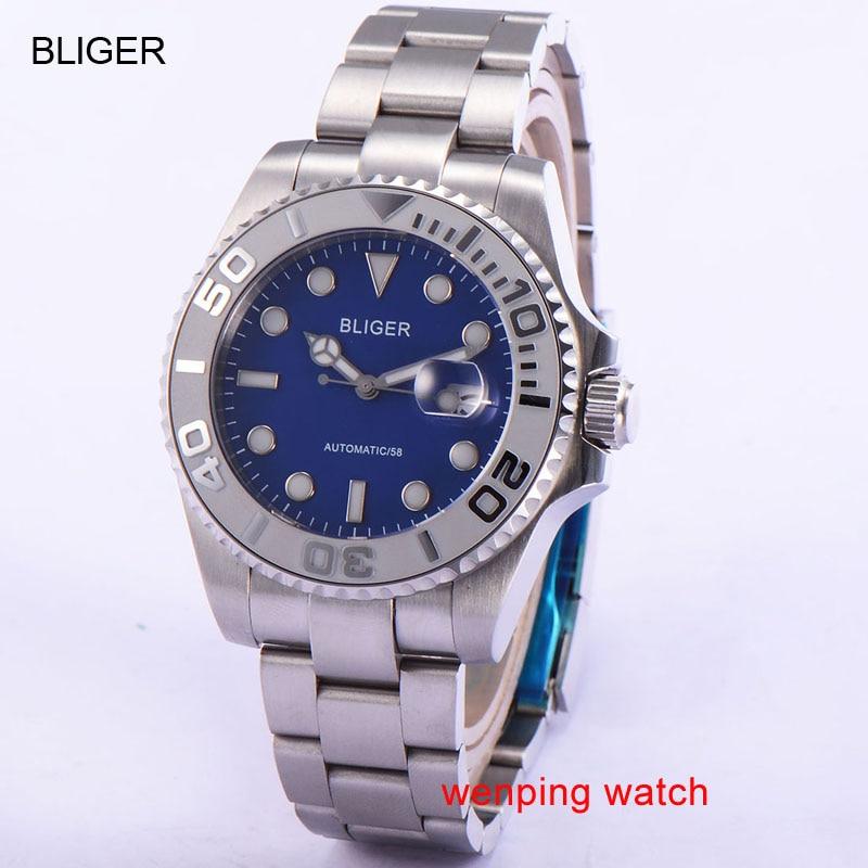 43mm Automatic Men's Watch Bliger blue dial Sapphire Glass blue dial Ceramics Bezel 1886