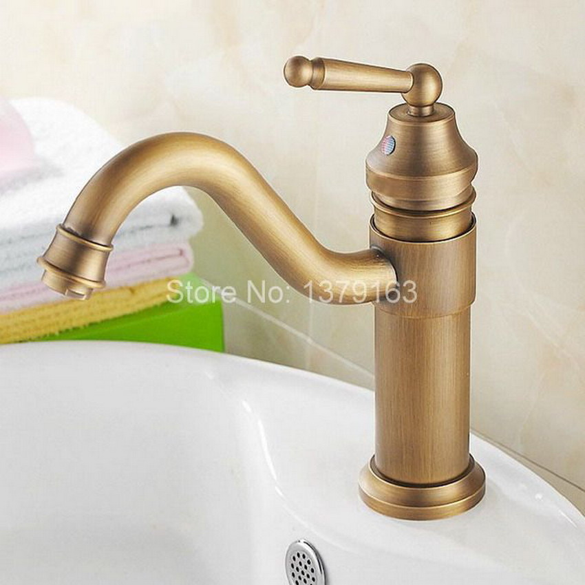 Antique Brass Gooseneck Single Handle Swivel Kitchen Bathroom Sink Basin Faucet Mixer Taps anf203 antique brass dual cross handles swivel kitchen bathroom sink basin faucet mixer taps anf003