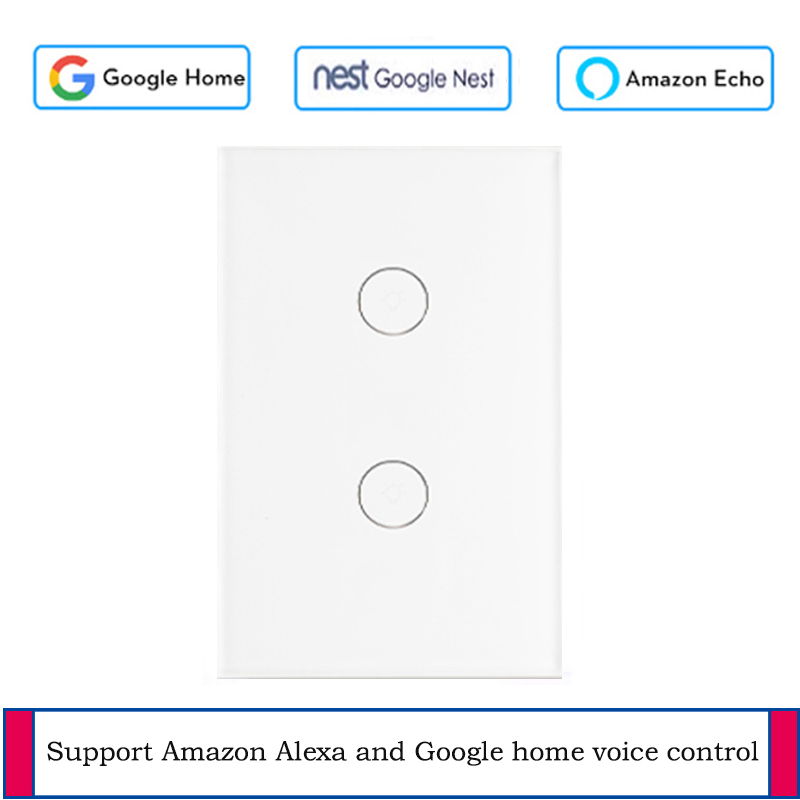 TUya App Control Smart Touch Remote light Switch US Standard 2 Gang 1 Way Wall Touch Light Switch Works with Alexa and Google TUya App Control Smart Touch Remote light Switch US Standard 2 Gang 1 Way Wall Touch Light Switch Works with Alexa and Google