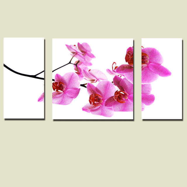 3 pieces canvas Art painting butterfly orchid flowers wall art for a ...