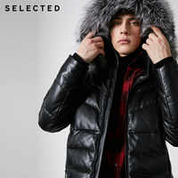 SELECTED Winter New Style Men's Fox Fur Collar Sheepskin Short Down Suit S|418412568