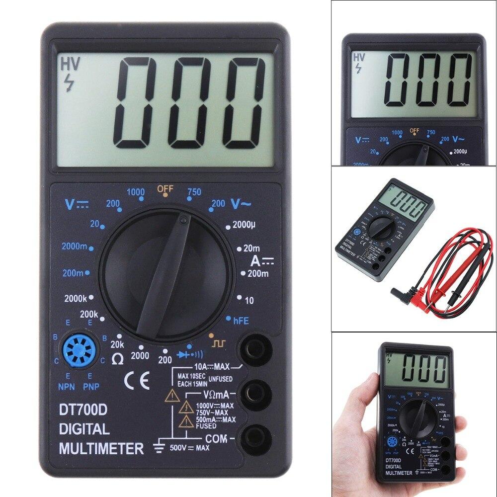 Ferramenta de medição multitester de freguency do diodo da tensão da c.c./ca do multímetro digital dt700d do lcd com o conversor da integração a/d da dupla inclinação