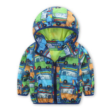 Car Cartton Kid Boy Windproof Jacket   2016 New Spring Autumn Sport Coat Hoodie Children's Clothing Coats Outerwear 2-7years old