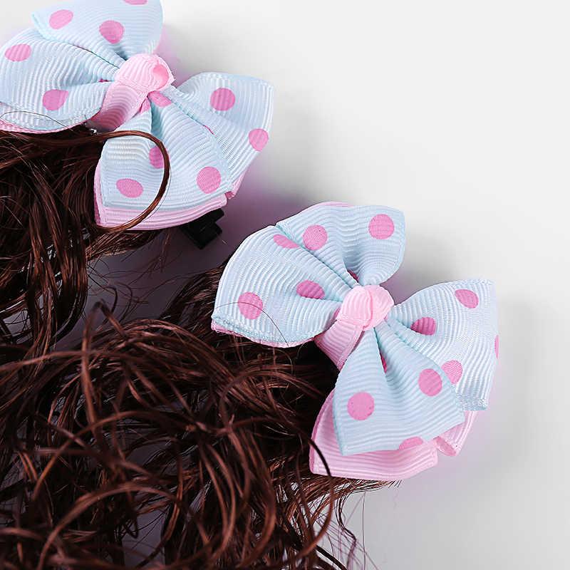 Корейские детские милый парик аксессуары для волос синий маленькая принцесса девушка вьющиеся бант для волос шпилька для волос ювелирные изделия 1 пара