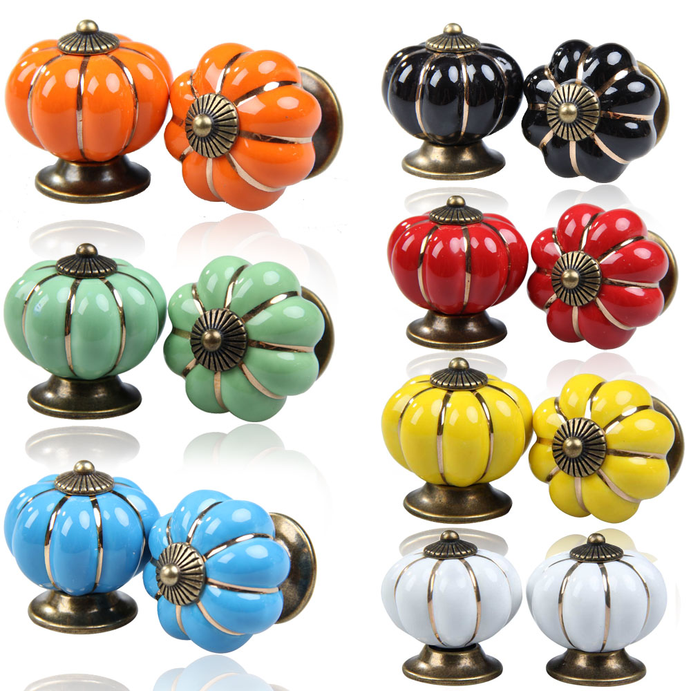 2Pcs  High Quality Vintage Pumpkin Ceramic Door Knobs Cabinet Drawer Cupboard Kitchen Pull Handle 7 Colors   --M25 push to open beetles drawer cabinet latch catch touch release kitchen cupboard new arrival high quality