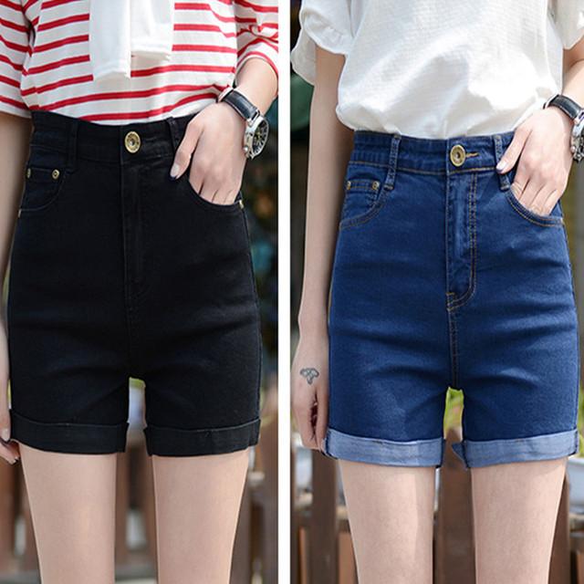 Cintura alta Pantalones Cortos de Mezclilla Más El Tamaño Femeninos Pantalones Vaqueros Cortos para Las Mujeres 2016 Señoras Del Verano Hot Shorts 5XL