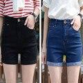 Short Jeans de Cintura alta Shorts Jeans Plus Size Feminina para As Mulheres 2016 Senhoras Verão Quente Calções 5XL