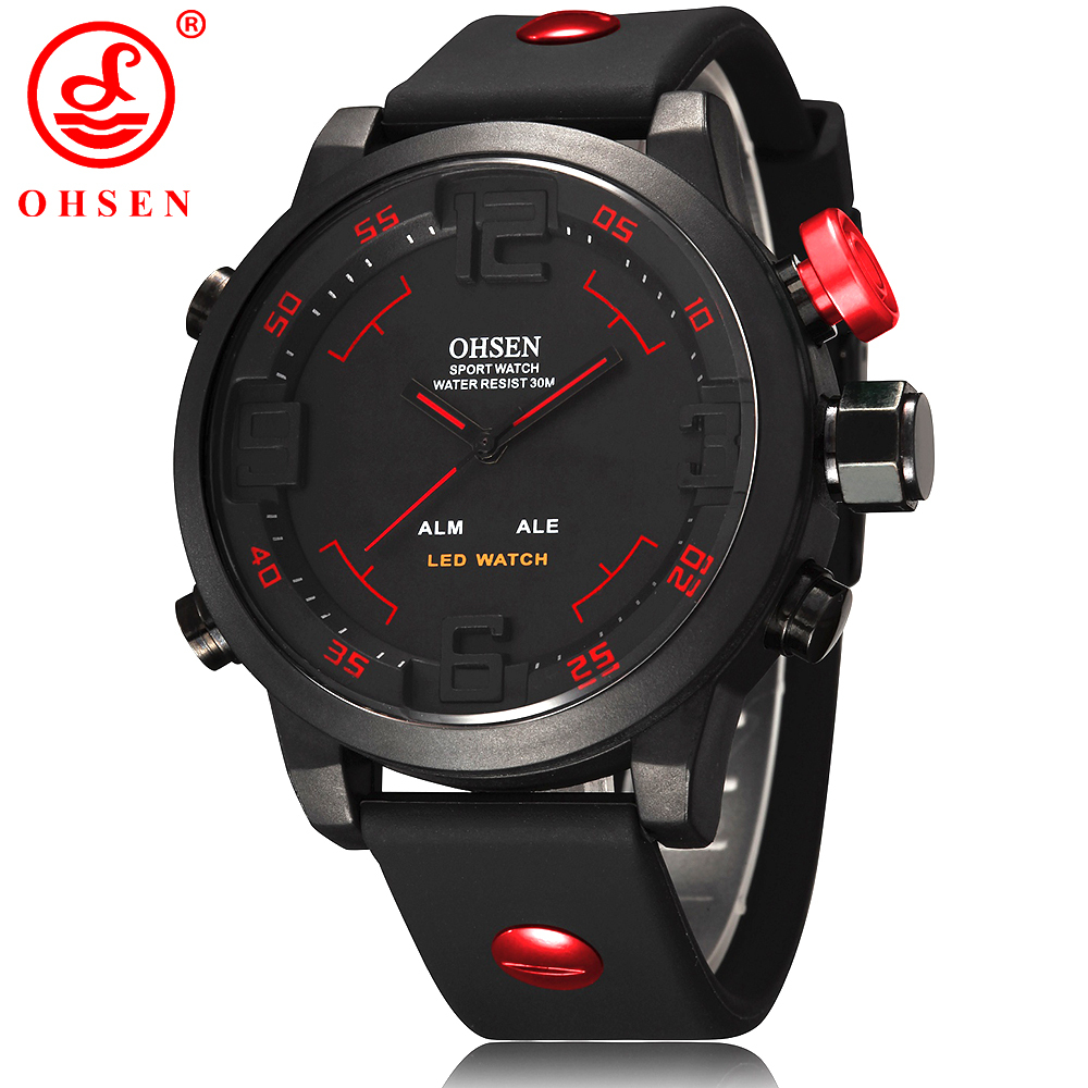 New Fashion OHSEN Led Digital Watch Analog Quartz Watch Sports Watches Men Waterproof Relogio Masculino Casual wristwatches AS20 2016 ohsen brand new analog digital led military watch relogio masculino wristwatch waterproof dive swim for men sports watches