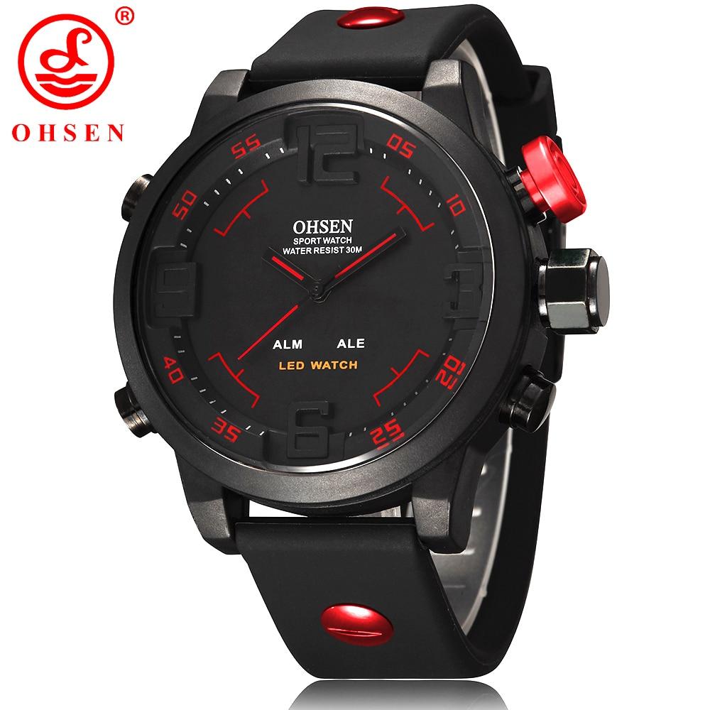 New Fashion OHSEN Led Digital Watch Analog Quartz Watch Sports Watches Men Waterproof Relogio Masculino Casual wristwatches AS20