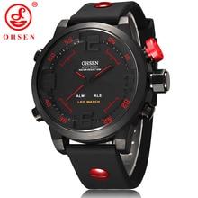 Nueva Moda OHSEN Led Reloj Digital Analógico de Cuarzo Reloj Relojes Deportivos Hombres Impermeable relojes de pulsera Relogio masculino Ocasional AS20