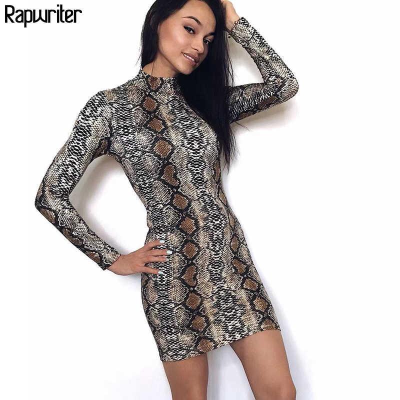 170bb292ec1 Rapwriter Sexy Skinny Snake Skin Print Turtleneck Long Sleeve Elastic Dress  Vestido Women 2018 Fall Winter