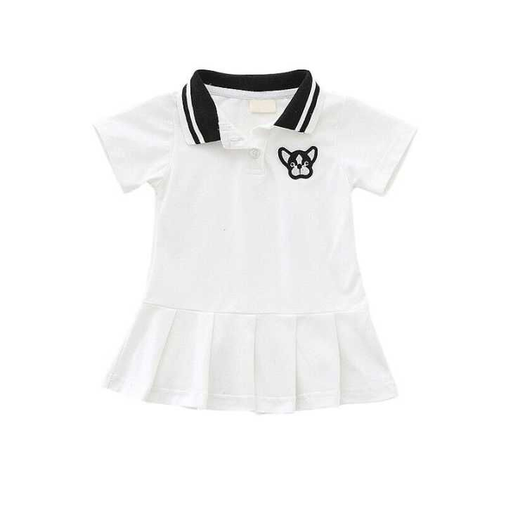 Baby Girls Clothes 2 Color Ruched Dog Print Solid Dresses Bebe Girls Preppy Style Cloth