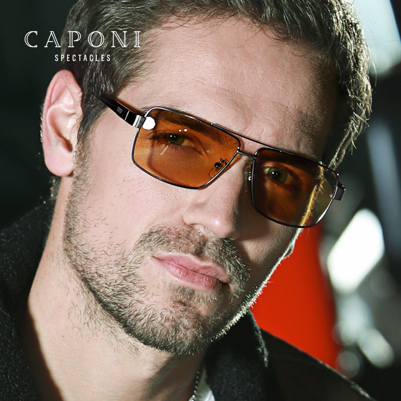 CAPONI Polarized Photochromic Sunglasses Men Safety Driving For Drivers Sun Glasses Fishing Shades UV400 BSYS031